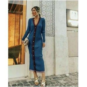 NWT Zara Size S Cardigan Knit Midi Tube Dress